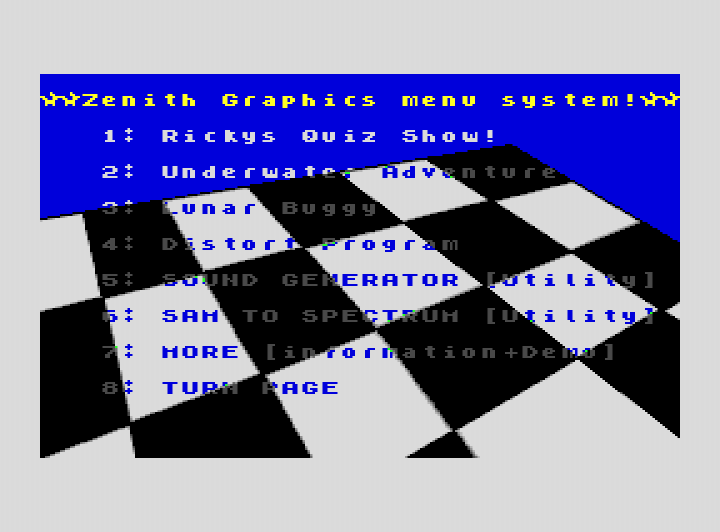 Zenith Graphics Menu System