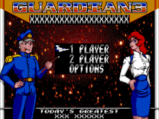 "Guardian 3 main menu featuring a slot near the top for those scrolly things, and a ""Today's Greatest"" slot for the top score. I seem to recall there was some talk of allowing the high score table to be saved, but not certain..."