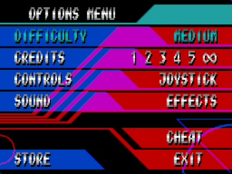 Guardian 3 options screen - very console-inspired, and designed to look as though transparent overlays were used. Cheat options weren't really discussed, but I was hoping to add 'Penguin Mode' at least, because I like Parodius