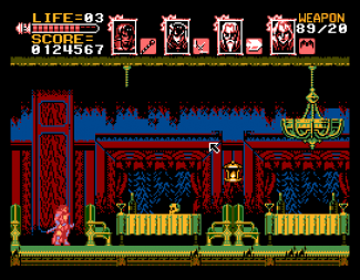 SamPaint mockup of Bloodstained: Curse of the Moon at Sam screen resolution/colour depth