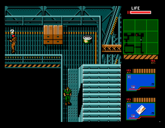 SamPaint mockup of Metal Gear from the MSX - original screen resolution of 256x212 fudged down by shifting the life bar to an otherwise unoccupied space on the top/right